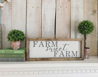 Farm Sweet Farm Sign, Farm Sign, Farmhouse Sign, Farmhouse Decor, Farm Decor, Fixer Upper Decor, Kitchen Sign, Rustic Decor - Size: 17x7