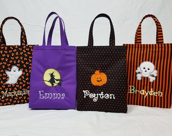 Personalized GLOW-in-the-dark Halloween Bag, Trick-or-Treat Bag, Embroidered Totes