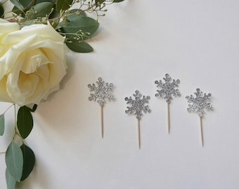 Snowflake Cupcake Toppers - Silver Cupcake Toppers - Winter Wonderland Toppers