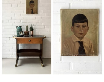 Reserved for applique! Vintage oil painting, old portrait, portrait boy, art, painting Art Deco, oil painting, art,.