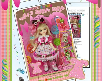 PDF Version - I Heart Candy Collection 2.0:  Puff-y Sleeve Dress PATTERN for BJD Tinies
