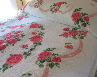 Brilliant Pink Roses n Snow Rare Printed Vintage Chenille Bedspread Cottage Chic