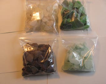 This variety pack containing 500 pieces of white, green sea foam and brown genuine sea glass  beach glass