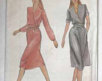 Vintage 80s Butterick 3656 Vintage Sewing Pattern / Mock Wrap Dress Size A 8,10,12 Complete