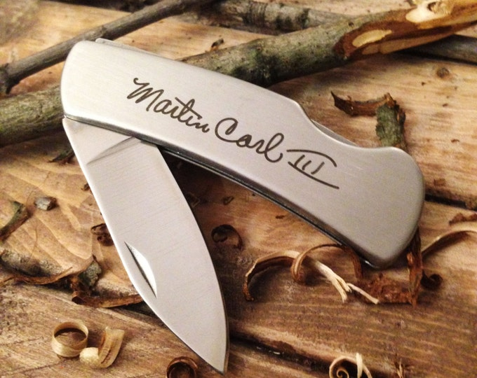 Handwritten Pocket Knife - Stainless Steel - YOUR ACTUAL HANDWRITING Engraved - Boy Scout - Camping Gift - Gifts for Him - Gift for Dad