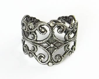 2 pcs Silver Filagree Ring Blanks Adjustable Vintage Antique Silver Ring R-12