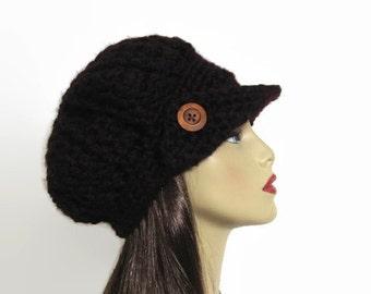 Black Newsboy Hat Crochet Newsboy Knit News boy Cap Adult Black Hat with Visor Black Hat with Brim Black Crochet Hat Black Slouch News boy