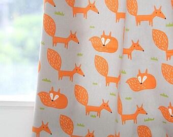 Scandinavian Style Cute Fox Pattern 20s Cotton Oxford Fabric (Gray)