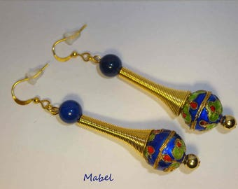 Earrings, Midnight blue and gold, cloisonné bead, glass Pearl, mother's day