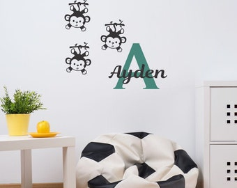 Three Little Monkeys vinyl wall decal! Choose your name and colours! 3 Little Monkeys.