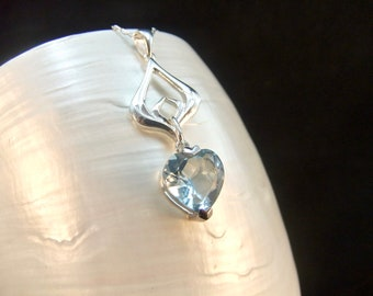 Aquamarine Heart Sterling Silver Necklace