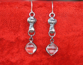Solid Silver Antique Style Hand Dangle Earrings with Rock Crystal