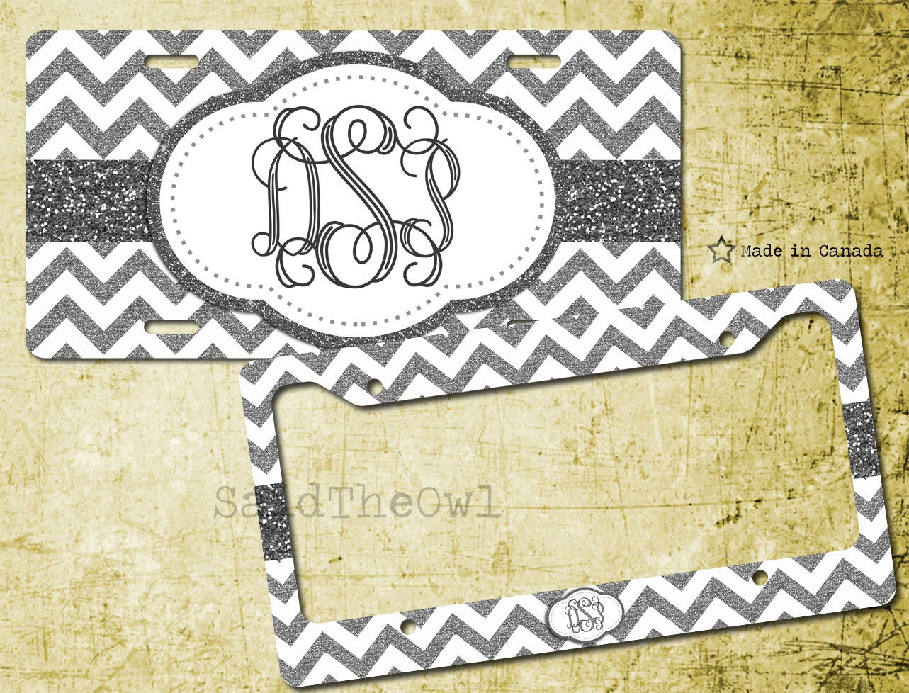 White and Silver Grey Glitter Chevron Pattern Cute Vanity