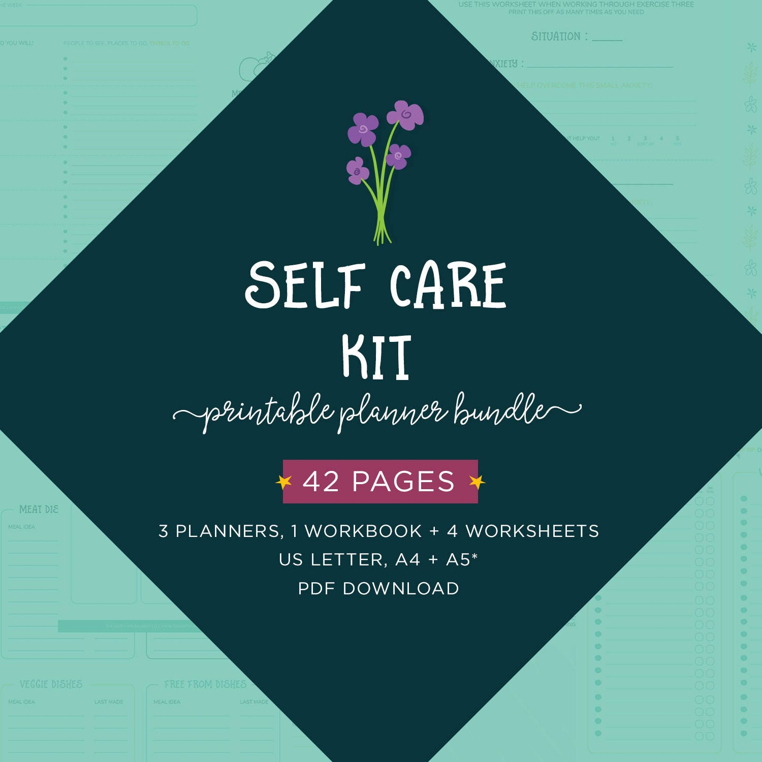Self Care Kit Digital Planner Pack Planner Bundle Wellness