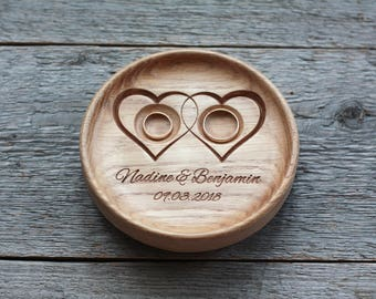Wedding ring pillow alternative Wedding ring bearer alternative Wedding ring dish bowl Wedding ring holder 5th Anniversary gift Two Hearts