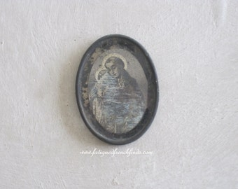 Antique French Print of St Anthony Hand Coloured Religious Print of St Anthony Carrying Christ Early 19th Century Framed