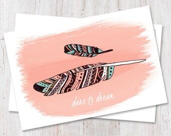 Boho chic, Motivational postcard, Boho chic postcard, Feather postcard, snail mail, pen pals, happy mail, cute stationery