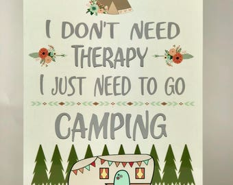 Camping Therapy - Camping Metal Sign - Vintage Camper- Camper Sign - Home Decor - Glamping