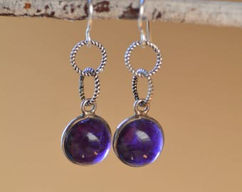 Amethyst  Sterling Silver  Earrings.  Purple Amethyst Cabochon Gemstone Earrings. Silversmith Earrings. February Jewelry. Fine Jewelry.