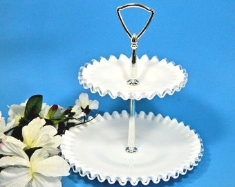 Fenton Silvercrest Small Two Tier Serving Tray Ruffled Milk Glass