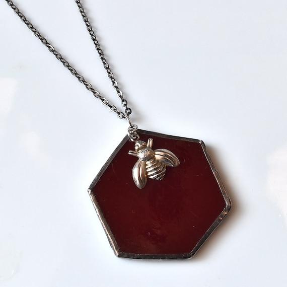 Broken China Jewelry Hexagon Necklace - Maroon Beehive