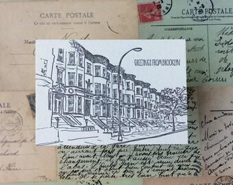Brooklyn - five letterpress postcards
