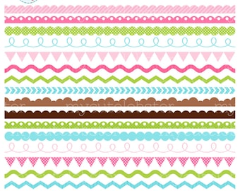 Borders Clipart Set - assorted borders clip art, scallop, ric rac, pennant, zig zag - personal use, small commercial use, instant download