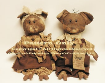 Ma & Pa Hogg with Piglets Primitive Pig Family Pattern, Pig Patterns, Primitive Pigs, Sewing Patterns, Primitive Animals, Animal Patterns