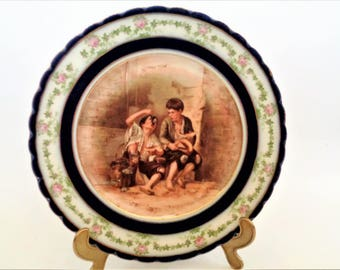 Limoges Plate Haviland France Plate Boys Eating Fruits Plate Decorative Plate Wall & Vintage Repousse Copper Wall Plate Sailing Ship Large