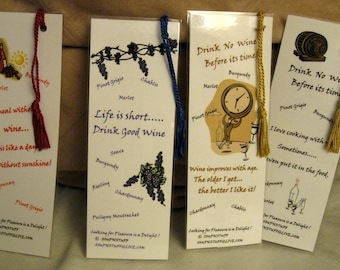BOOKMARKS WHIMSICAL  WINE  / Foodie Humor with  Measuring Charts Set of 4 Laminated