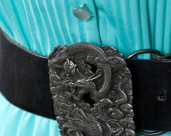vintage 1970s dragon belt buckle <> silver tone brass belt buckle <> Asian dragon belt buckle