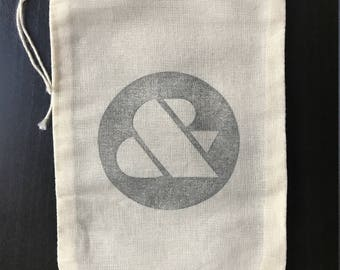 "Hand Stamped Ampersand Cotton Drawstring 5x7"" Muslin Bags"
