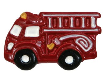 3 Fire Engine Truck 13/16 inch (21 mm) Metal Sewing Buttons