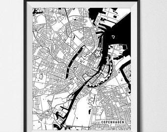 Copenhagen Denmark Map Art Print, University of Copenhagen Poster Gift Dorm Decor Graduation Gift Denmark Art Gift