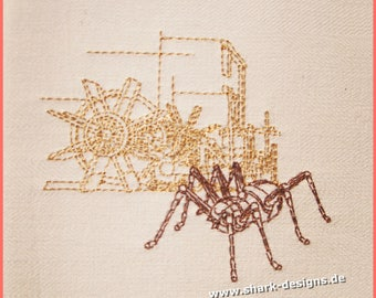 Embroidery file Steampunk-metallica-Spider in 7 sizes, embroidery machine, embroidery motif