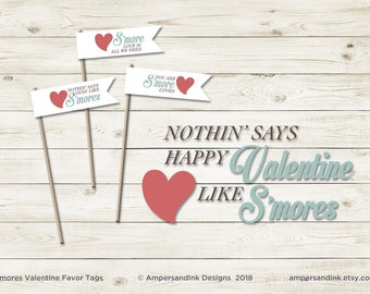 Valentine S'more Favor Tags - Nothin' Says Lovin' Like S'mores - Printable Favor Tags Straw Flags, Treat Ideas