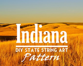 "Indiana - DIY State String Art Pattern - 10.5"" x 6.5"" - Hearts & Stars included"