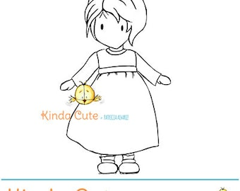 Girl Digital Stamp (black/white only). Girl with short hair digital stamp. Instant Download. 2 dollar stamp.