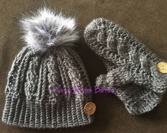 Cozy Faux fur beanie with matching mittens