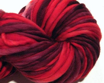 Bulky Handspun Yarn Red Hot Rose 118 yards hand dyed merino wool red scarlet yarn waldorf doll hair knitting supplies crochet supplies