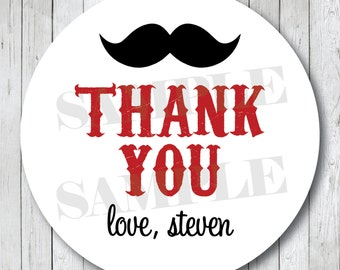 Mustache Thank You Stickers . Personalized Thank You Tags or Labels . Custom Colors