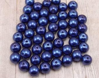 8mm Glass Pearls - Dark Lapis Blue - 50 pieces - Navy - Dark Cobalt Blue - Horizon