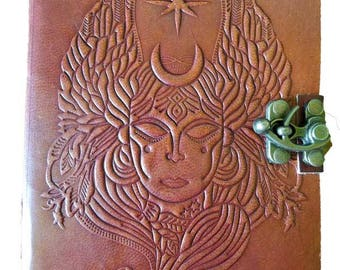 """Handcrafted Leather Goddess Journal 5"""" x 7"""" with leather cord"""