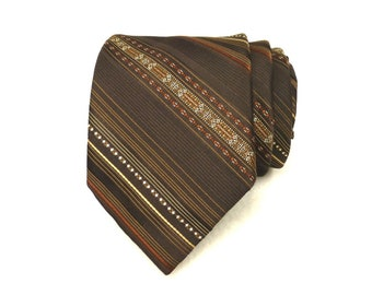 """Vintage Colosseo Di Roma 3"""" Wide Swing Tie Ornamental Brown Stripe Narrow Poly Tie, Vintage New from Old Stock"""