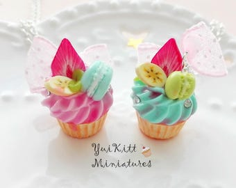 Sweet Cupcake Pendants/ Cupcake Necklace/ Mint-Blue Strawberry Cupcake Charm/ Strawberry Pink Cupcake/ Miniature Banana Cupcake