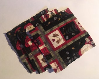 Christmas flannel coasters, set of 3