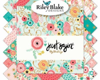 Just Sayin' 10 Inch Squares Layer Cake, 42 Pieces, My Mind's Eye Collelction, Riley Blake Designs,  Precut Fabric, Quilt Fabric, Cotton