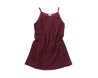 90s CHENILLE Mini Dress 1990s Party SUPER SHORT Fuzzy Woven Knit Crochet Sweater Jumper Mod Soft Grunge Kinderwhore Goth ClubKid Burgundy xs