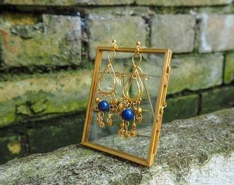 Lapis Lazuli, Gold Beads, Dangling, Chandelier Earrings