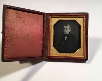 Early Daguerreotype of a Young Man Wearing a Gold Pin, 19th Century Antique Photo in Full Case